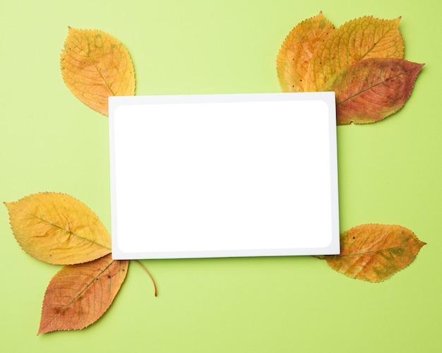 Hojas de otoño y papel en blanco