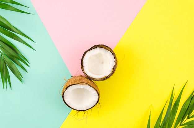 Hojas de palma con cocos en mesa brillante