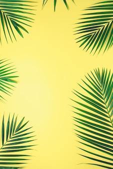 Hojas de palma tropicales en fondo amarillo en colores pastel. concepto de verano mínimo. plano creativo con espacio de copia.