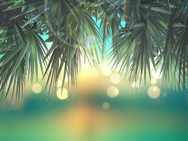 Hojas de palmera en 3d sobre fondo desenfocado