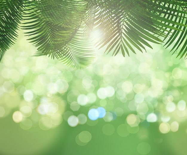 Hojas de palmera con efecto bokeh