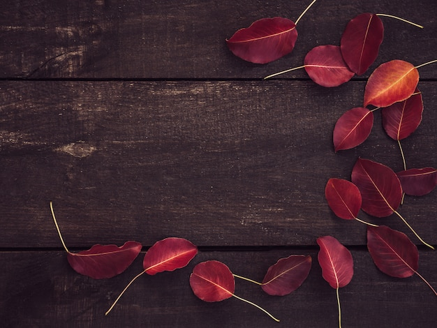 Hojas rojas y superficie marrón de tablas de madera.