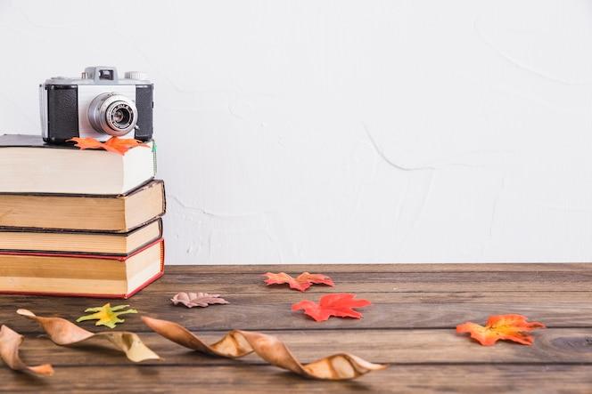 Hojas secas cerca de libros y cámara