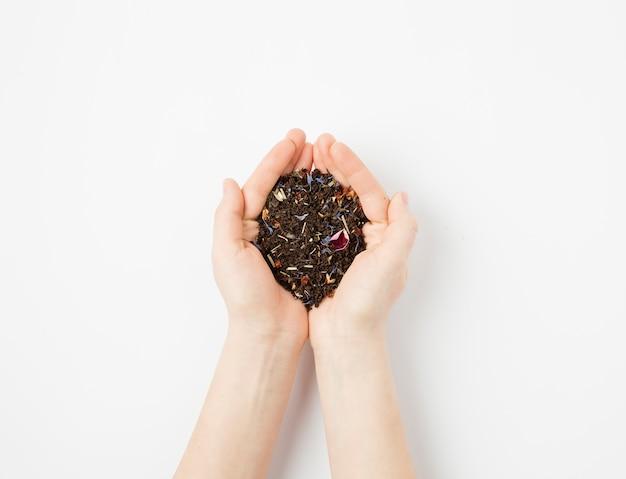 Hojas de té en mano