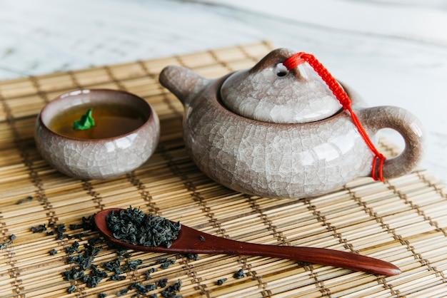 Hojas de té secas con tetera de cerámica y tazas de té sobre mantel individual