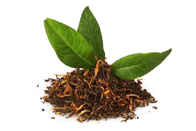 Hojas de té verdes y secas