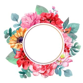 Hojas tropicales con marco de círculo