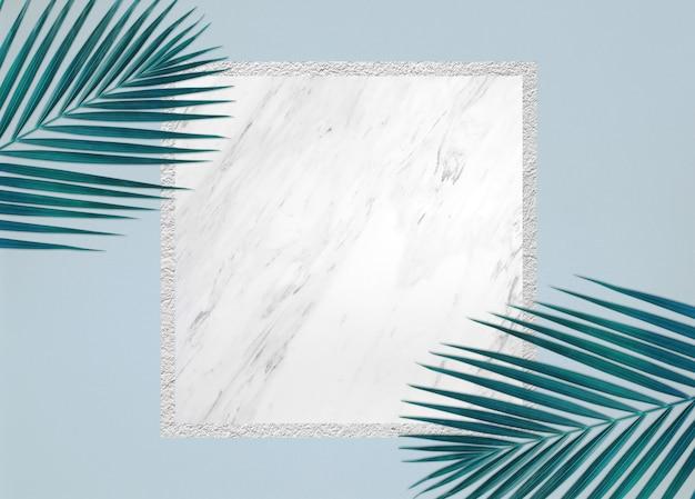 Hojas tropicales sobre fondo de mármol conceptos de verano