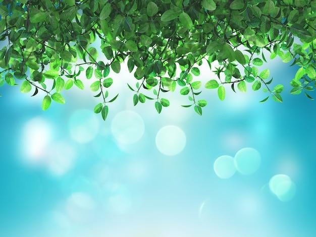 Hojas verdes 3d sobre un fondo azul desenfocado