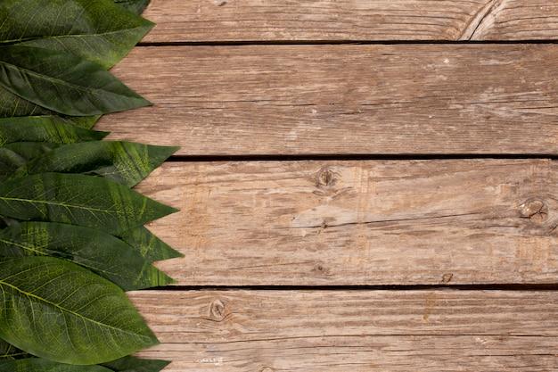 Hojas verdes en el fondo de madera vieja