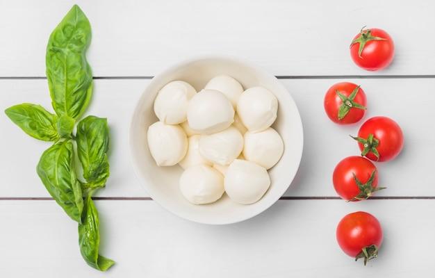 Hojas verdes frescas de albahaca y tomates rojos con un tazón de bolas de queso mozzarella