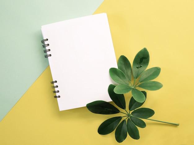 Hojas verdes de primavera con cuaderno en blanco