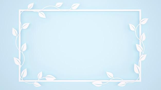 Hojas de vid y marco blanco sobre fondo azul claro.