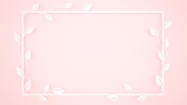 Hojas de vid y marco blanco sobre fondo rosa claro.