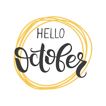 Hola letras de octubre elemento de diseño escrito a mano para cartel de tarjeta