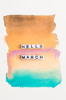 Hola marzo tipografía de texto de cuentas.