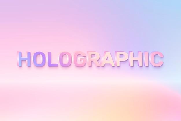 Holográfico en palabra en estilo de texto colorido