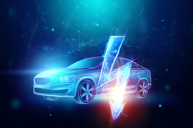 Holograma de coche eléctrico, señal de electricidad.
