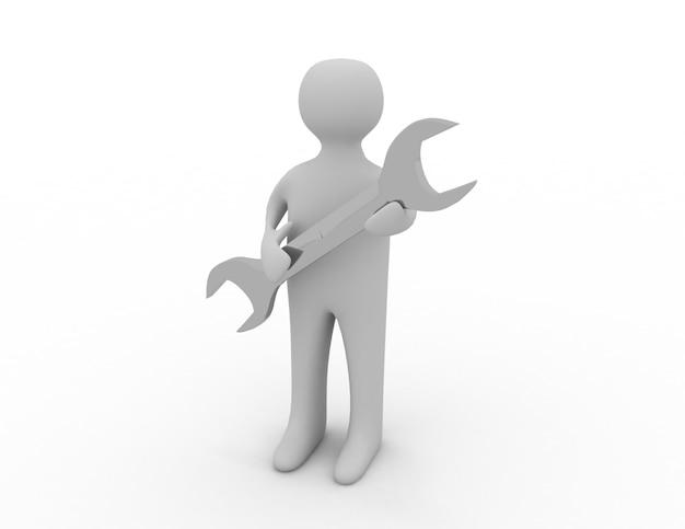 Hombre 3d con una llave en la mano