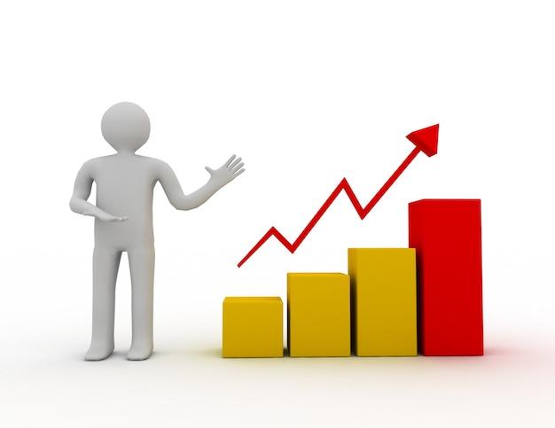 Hombre 3d que presenta gráfico de tabla de crecimiento empresarial