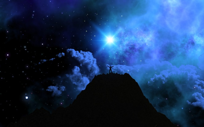 Hombre 3d se paró en la cima de una montaña contra un cielo del espacio