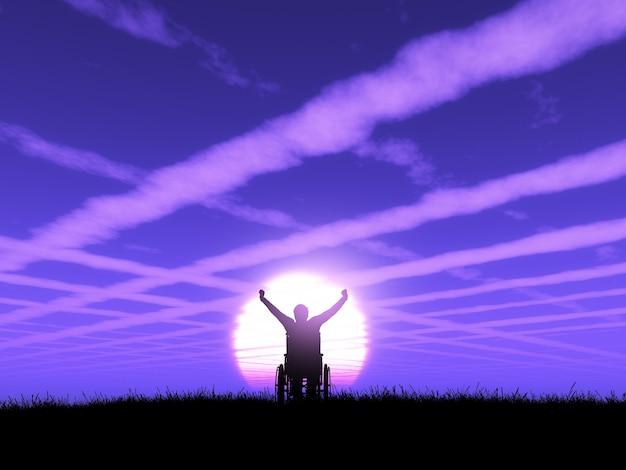Hombre 3d en silla de ruedas con los brazos levantados contra un paisaje púrpura de atardecer.