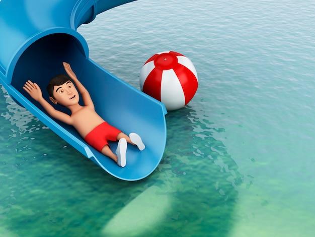 Hombre 3d en un tobogán de agua. concepto de vacaciones.