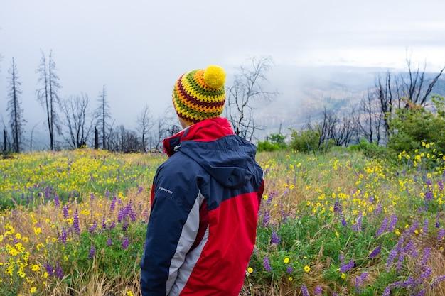 Hombre en un abrigo de pie en un hermoso campo de flores