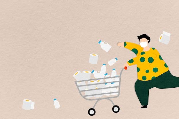Hombre acaparando comida y papel de seda durante la pandemia de coronavirus