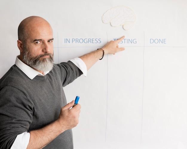 Hombre adulto apuntando al plan de negocios