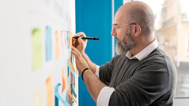 Hombre adulto planeando método scrum