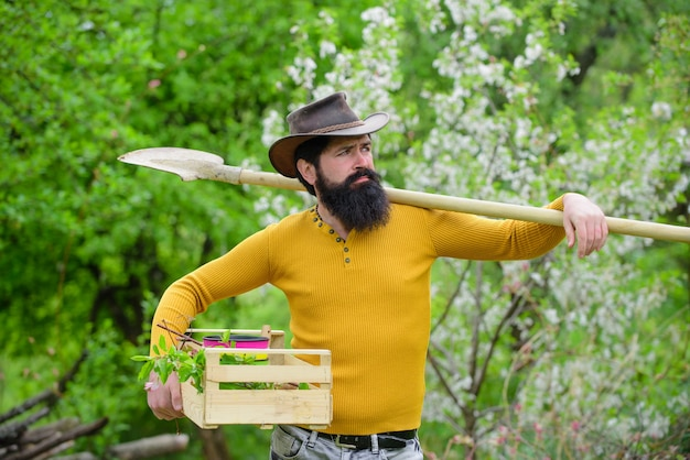 Hombre agricultor agricultor mantenga caja hombre barbudo preparándose para plantar trabajos de agricultor en jardinería jardín