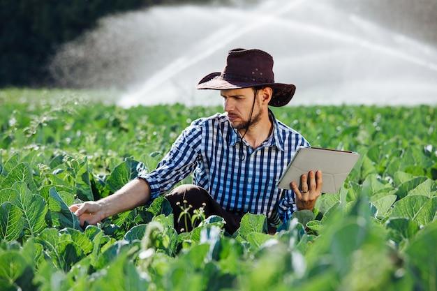 Hombre agricultor agrónomo trabajador del sol cheque tableta digital computadora plantación tecnología sombrero sistema de rociadores agua