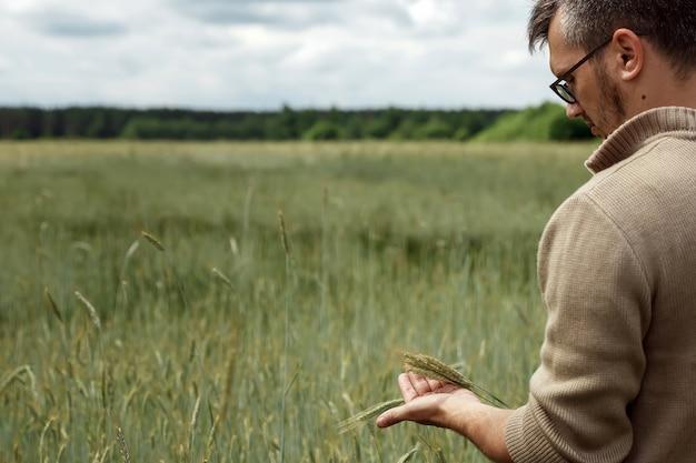 Un hombre agricultor está de pie en su campo, sosteniendo una espiga de centeno en la mano.