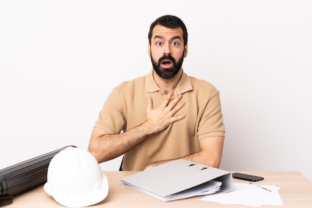 Hombre de arquitecto caucásico con barba en una mesa sorprendido y conmocionado mientras mira a la derecha.