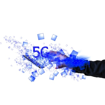 El hombre está atrapando la tableta con señal 5g. nuevo concepto de internet. cubriendo la conexión en todo el mundo. tecnologías peligrosas. desarrollos modernos.