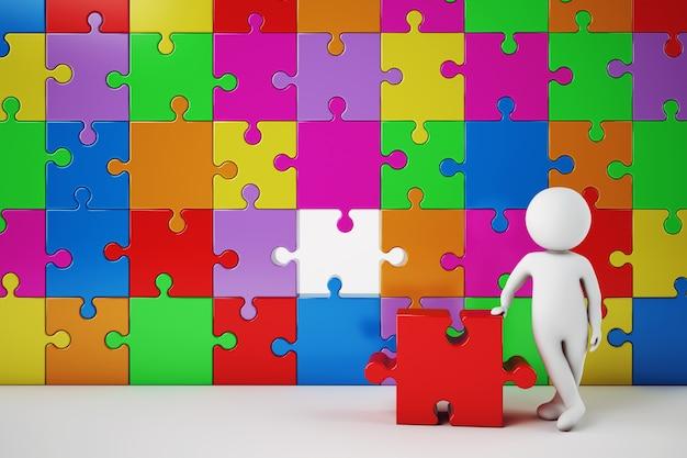El hombre blanco construye una empresa. concepto de asociación y trabajo en equipo. renderizado 3d. renderizado 3d