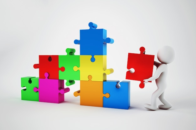 El hombre blanco construye una empresa. concepto de asociación y trabajo en equipo. representación 3d