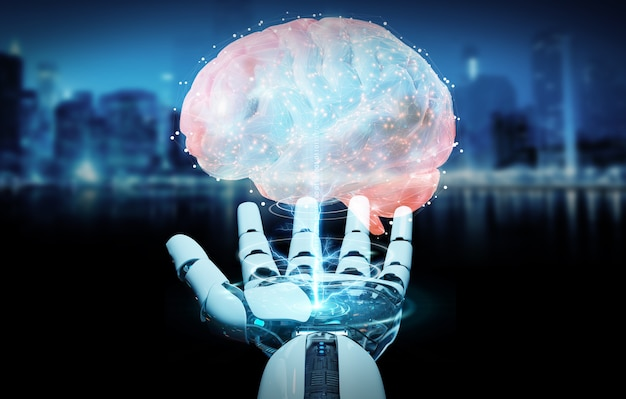 Hombre blanco humanoide creando inteligencia artificial