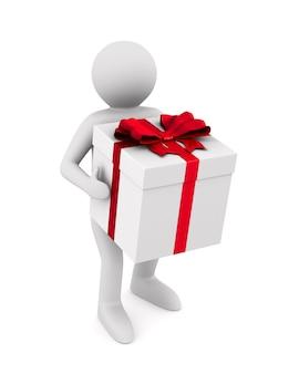 Hombre con caja de regalo en espacio en blanco