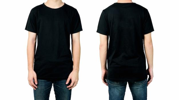 Hombre en camiseta negra en blanco, vistas frontal y posterior de maqueta para impresión de diseño.