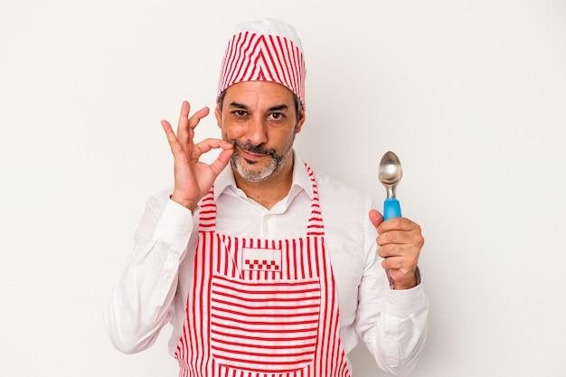 Hombre caucásico de mediana edad fabricante de hielo caucásico sosteniendo una cuchara aislada sobre fondo blanco con los dedos en los labios guardando un secreto.