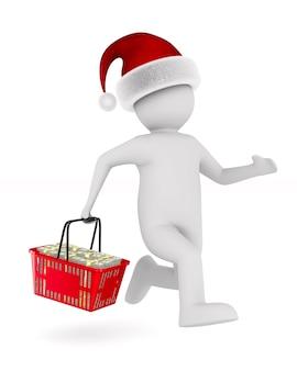 Hombre con cesta de compras en espacios en blanco. ilustración 3d aislada