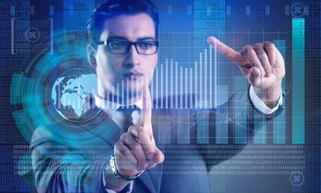 Hombre en el concepto de negocio de comercio de acciones