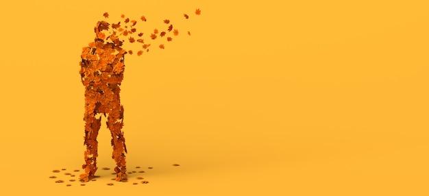 Hombre descomponiéndose en hojas de otoño. copie el espacio. ilustración 3d.