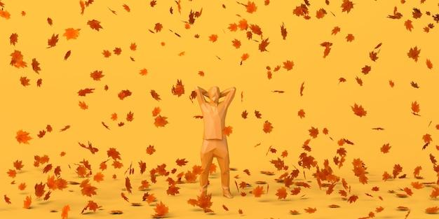 Hombre disfrutando de la temporada de otoño con hojas caídas otoño placer ilustración 3d