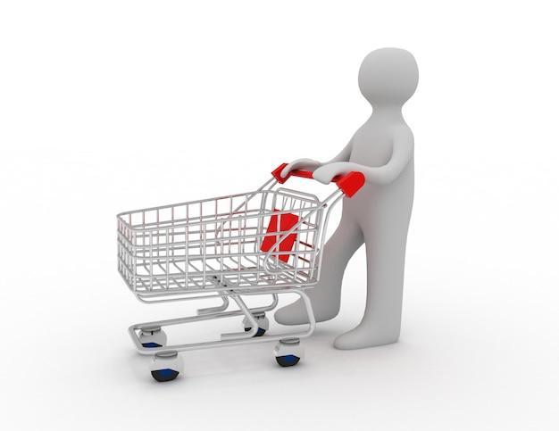 Hombre empujando un carrito de compras vacío
