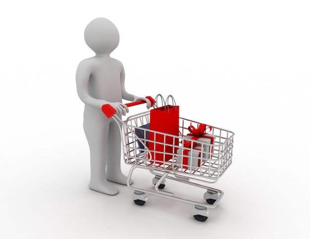 Hombre empujando un carrito de compras
