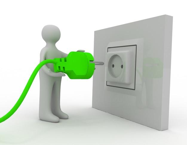 Hombre enchufar el cable de alimentación de ca