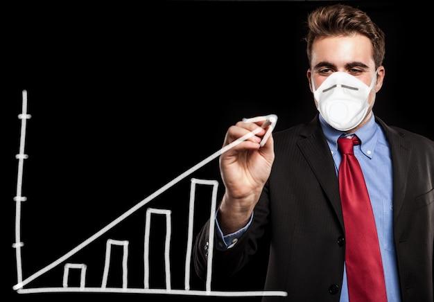 Hombre enmascarado dibujando un gráfico positivo, oportunidad de concepto de negocio de coronavirus